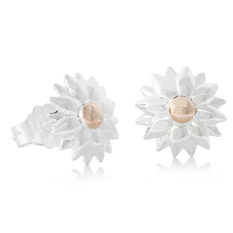 Sterling Silver & Rose Gold Plated Dahlia Stud Earrings - Walker & Hall