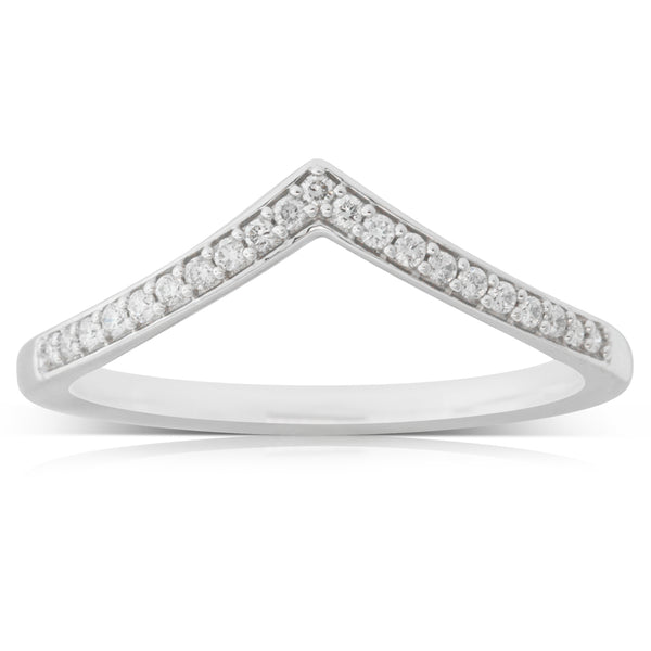 9ct White Gold .10ct Diamond Band - Walker & Hall