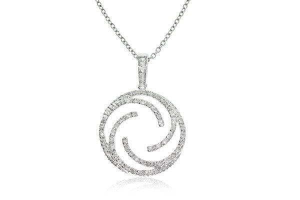 9ct White Gold Diamond Swirl Pendant - Walker & Hall