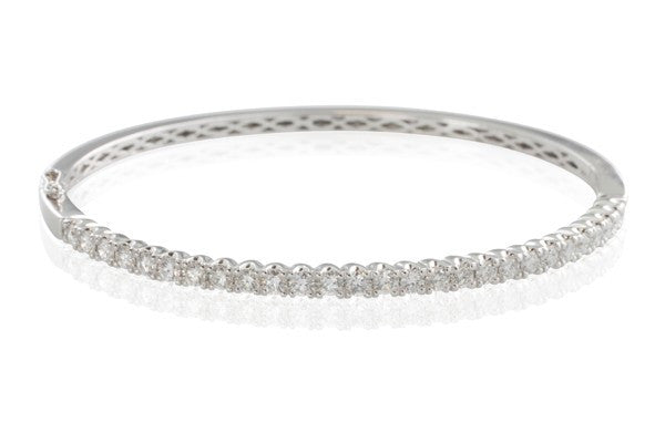 18ct White Gold 1.77ct Claw Set Diamond Bangle - Walker & Hall