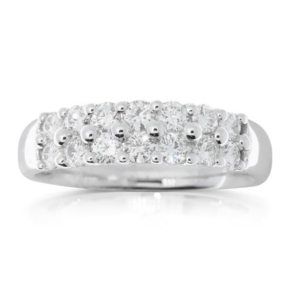 18ct White Gold .75ct Twin Row Claw Set Diamond Ring - Walker & Hall