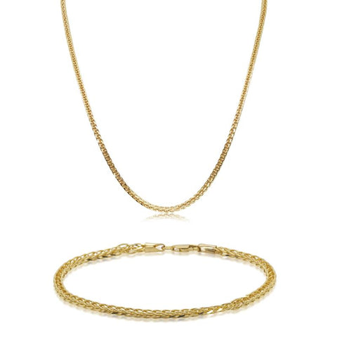 Gift Set - 9ct Yellow Gold Foxtail Necklace & Bracelet - Walker & Hall