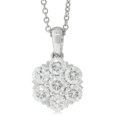 18ct White Gold 1.30ct Diamond Lotus Pendant - Walker & Hall