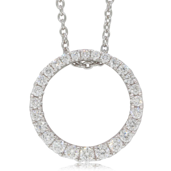18ct White Gold .35ct Diamond Circle Pendant - Walker & Hall