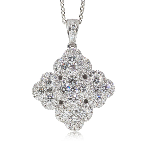 18ct White Gold 1.35ct Diamond Cluster Pendant - Walker & Hall