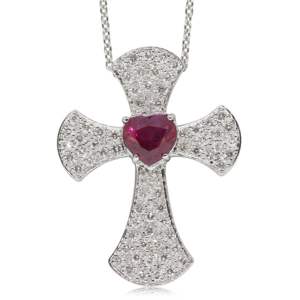 Vintage 18ct White Gold 1.24ct Ruby & Diamond Cross Pendant - Walker & Hall
