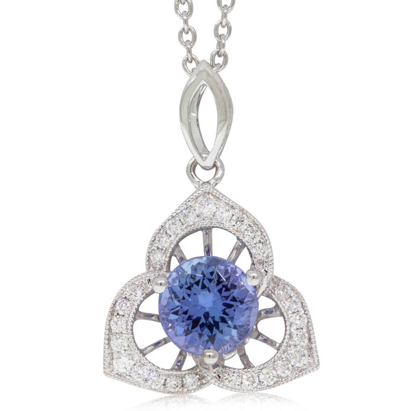 18ct White Gold  1.02ct Tanzanite & Diamond Pendant - Walker & Hall