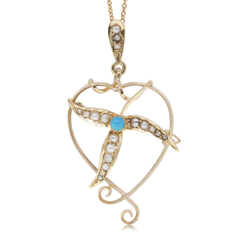 Vintage 15ct Yellow Gold Turquoise & Seed Pearl Heart Pendant - Walker & Hall