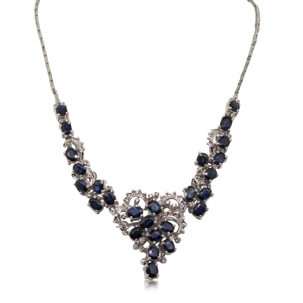 Vintage 18ct White Gold 10ct Sapphire & Diamond Necklace - Walker & Hall