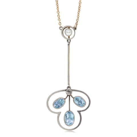 Vintage 18ct White & Yellow Gold 1.00ct Aquamarine, Pearl & Diamond Pendant - Walker & Hall