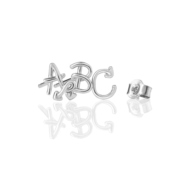 Karen Walker Love Letter Single Initial Stud - Sterling Silver - Walker & Hall