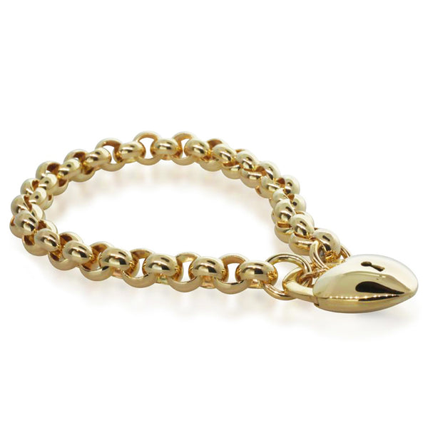 9ct Yellow Gold Round Belcher Bracelet With Padlock Clasp - Walker & Hall