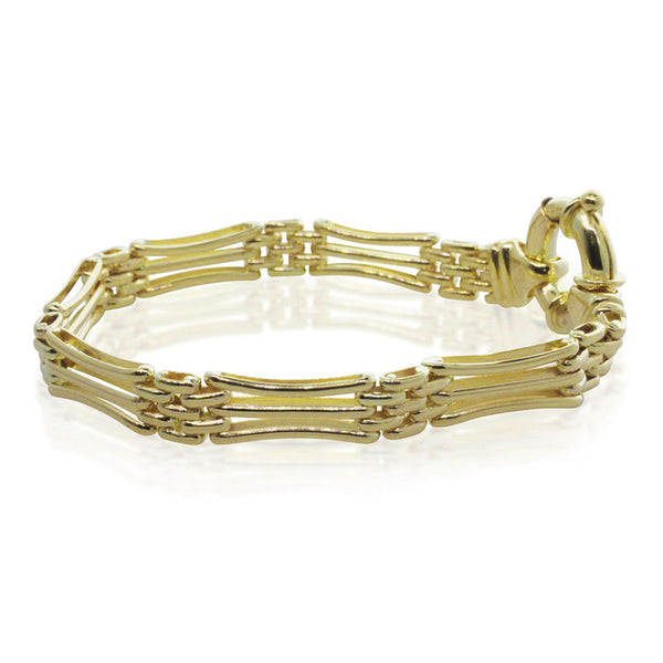 9ct Yellow Gold Concave Gate Bracelet With Bolt Clasp - Walker & Hall