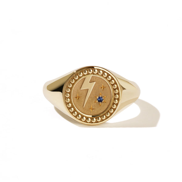 Meadowlark Amulet Strength Signet Ring - 9ct Yellow Gold & Blue Sapphire - Walker & Hall