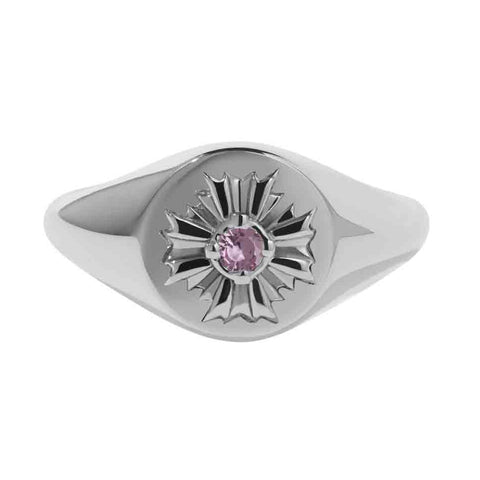 Meadowlark August Signet Ring - Pink Tourmaline & Sterling Silver - Walker & Hall