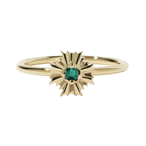 Meadowlark August Stacker Ring - Emerald & 9ct Yellow Gold - Walker & Hall