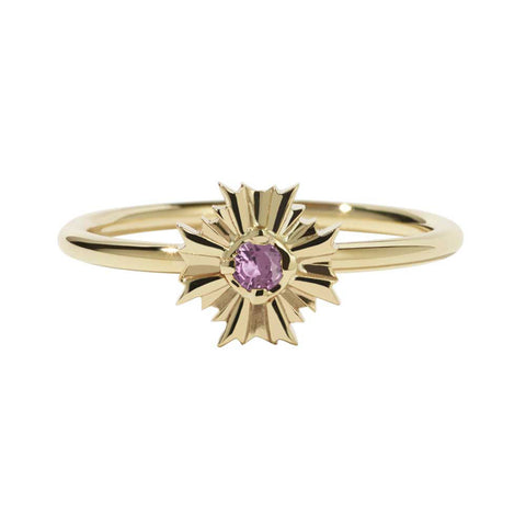 Meadowlark August Stacker Ring - Pink Tourmaline & 9ct Yellow Gold - Walker & Hall
