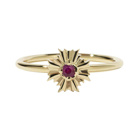 Meadowlark August Stacker Ring - Ruby & 9ct Yellow Gold - Walker & Hall