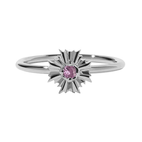 Meadowlark August Stacker Ring - Pink Tourmaline & Sterling Silver - Walker & Hall