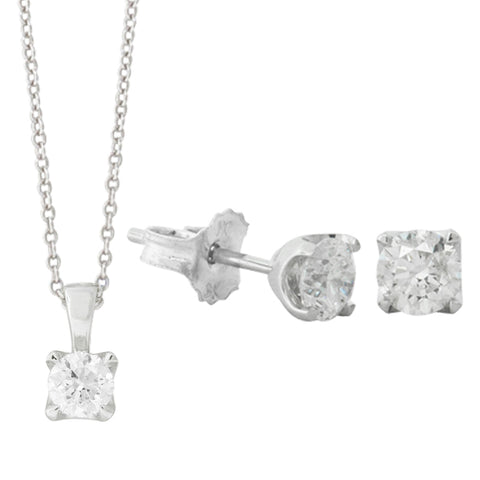 9ct White Gold 1.00ct Blossom Set - Walker & Hall