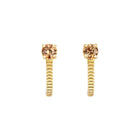 Zoe & Morgan Bianca Huggie Earrings - Gold Plated & Brown Zircon - Walker & Hall