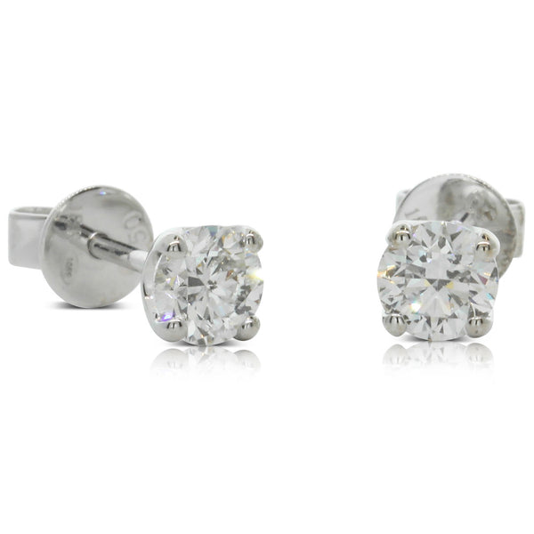 18ct White Gold 1.00ct Diamond Blossom Earrings - Walker & Hall