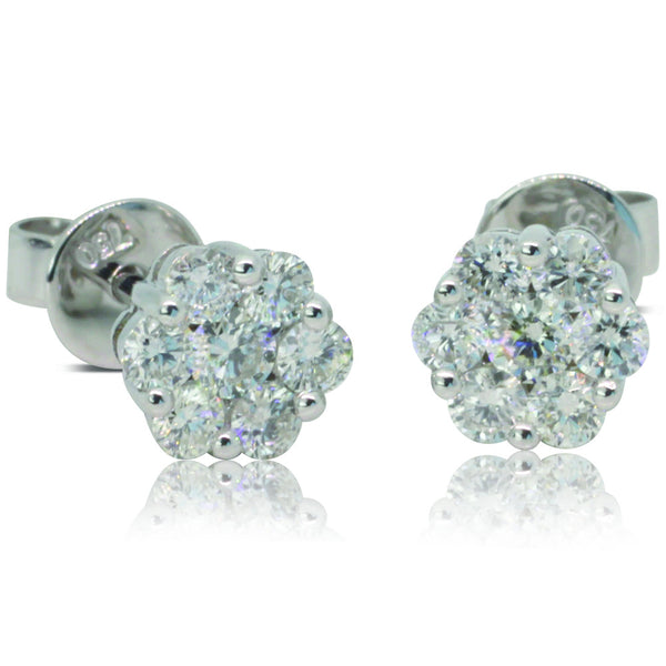 18ct White Gold .50ct Diamond Cluster Stud Earrings