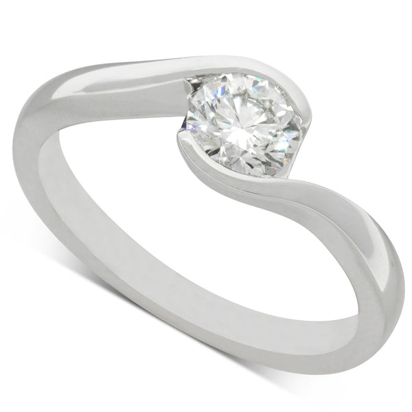 18ct White Gold .62ct Diamond Embrace Ring - Walker & Hall