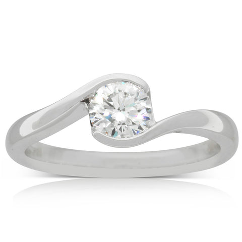 18ct White Gold .61ct Diamond Embrace Ring - Walker & Hall