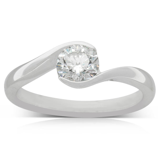 18ct White Gold .73ct Diamond Embrace Ring - Walker & Hall