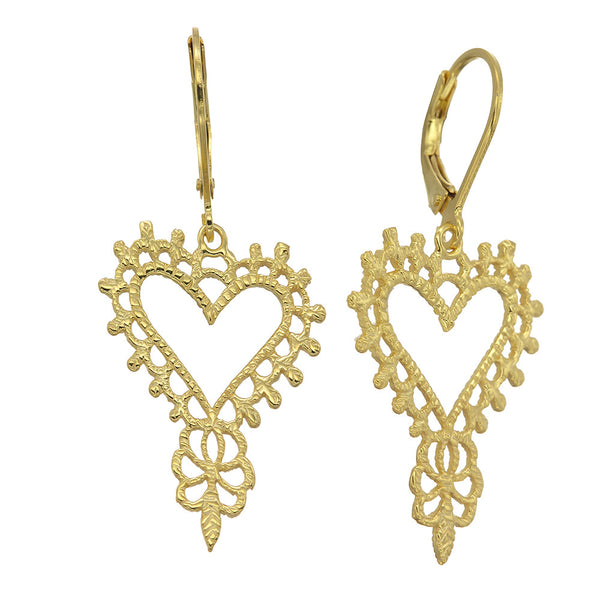 Zoe & Morgan Mini Gypsy Heart Earrings - 22ct Yellow Gold Plated - Walker & Hall