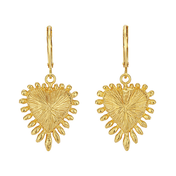 Zoe & Morgan Heart Rays Earrings - Gold Plated - Walker & Hall