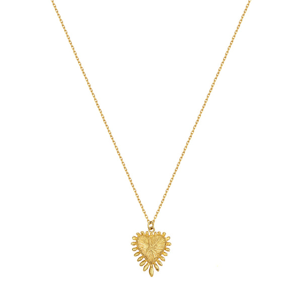 Zoe & Morgan Heart Rays Necklace - Gold Plated - Walker & Hall