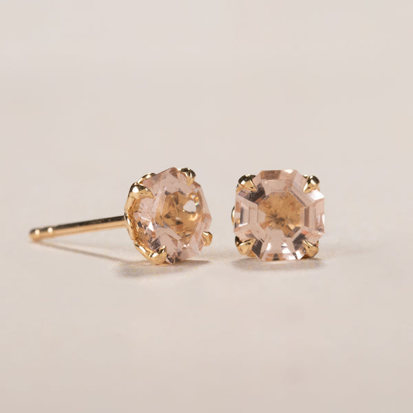 18ct Yellow Gold Morganite Octavia Stud Earrings - Walker & Hall