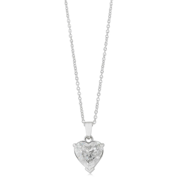 18ct White Gold 2.22ct Diamond Heart Pendant
