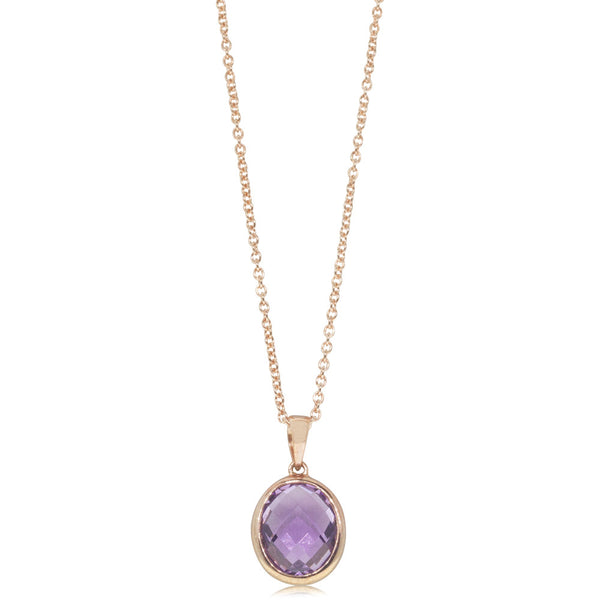 9ct Rose Gold Amethyst Oval Pendant
