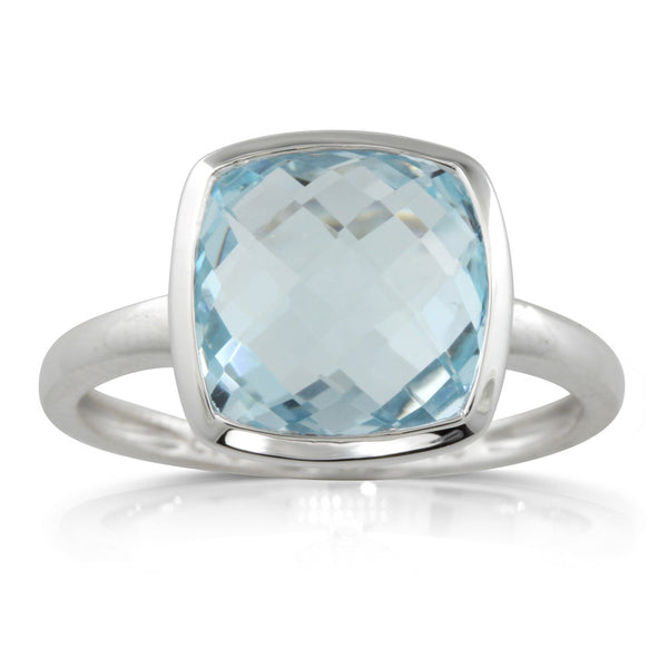9ct White Gold Blue Topaz Ring - Walker & Hall