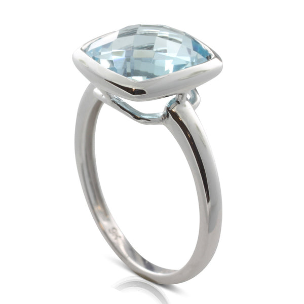 9ct White Gold Blue Topaz Ring