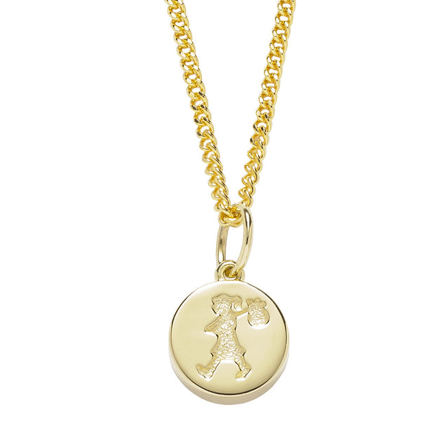 Karen Walker Runaway Girl Stamp Necklace - 9ct Yellow Gold - Walker & Hall
