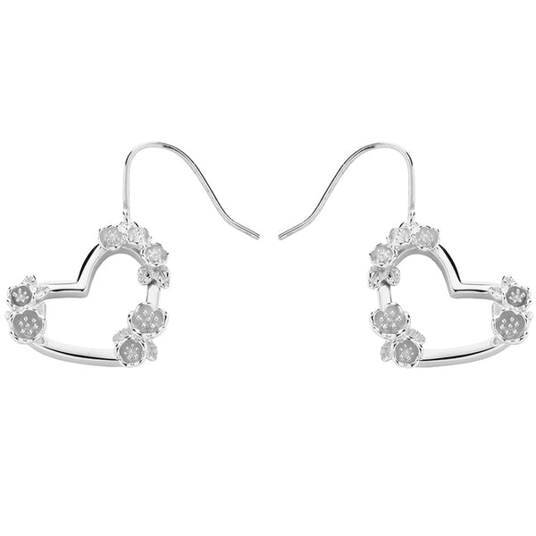 Karen Walker Botanical Heart Earrings - Sterling Silver - Walker & Hall