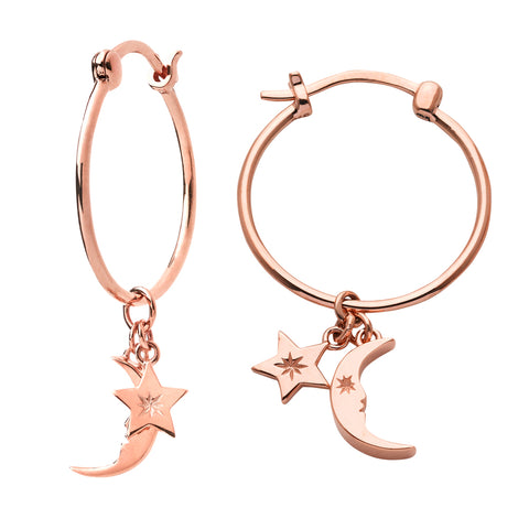 Karen Walker Moon & Star Charm Hoop Earrings - 9ct Rose Gold - Walker & Hall
