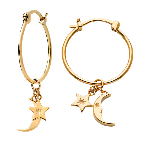 Karen Walker Moon & Star Charm Hoop Earrings - 9ct Yellow Gold - Walker & Hall