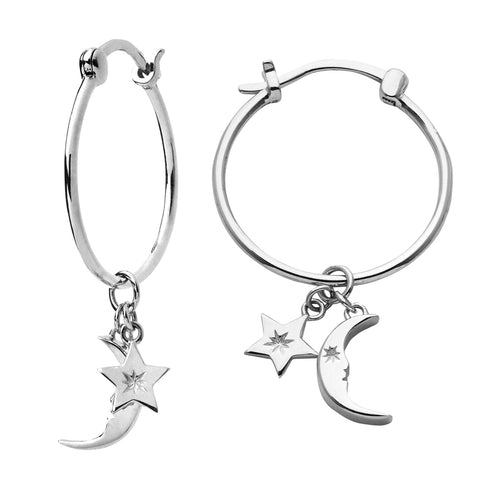Karen Walker Moon & Star Charm Hoop Earrings - Sterling Silver - Walker & Hall