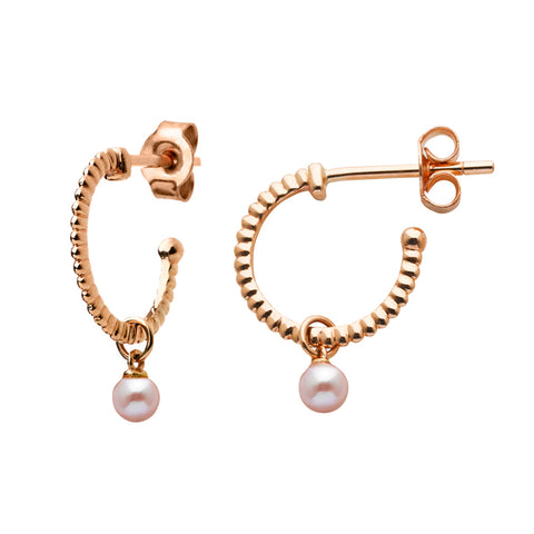Karen Walker Wisdom Pearl Hoop Earrings - 9ct Rose Gold - Walker & Hall