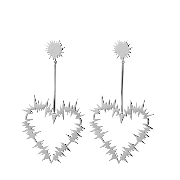 Karen Walker Electric Heart Drop Earrings - Sterling Silver - Walker & Hall