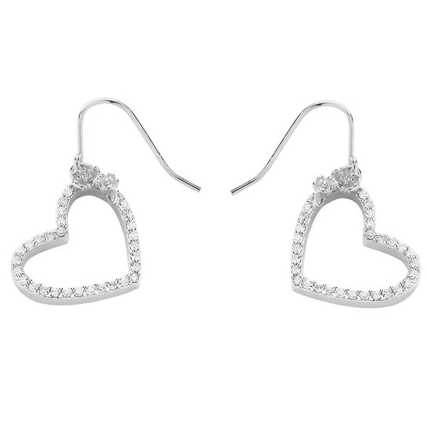 Karen Walker Diamond Heart Earrings - 9ct White Gold - Walker & Hall