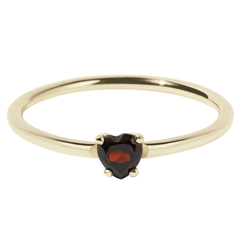 Meadowlark Micro Heart Ring - Thai Garnet - Walker & Hall
