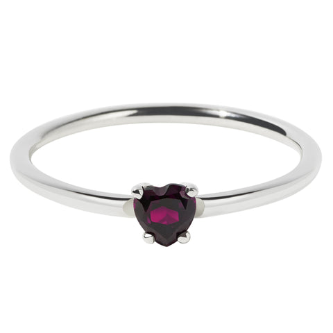 Meadowlark Micro Heart Ring - Rhodolite Garnet - Walker & Hall