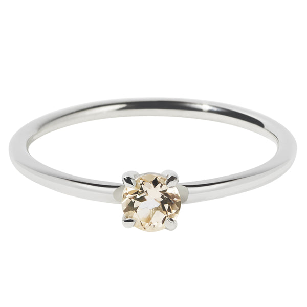 Meadowlark Micro Round Ring - Morganite - Walker & Hall
