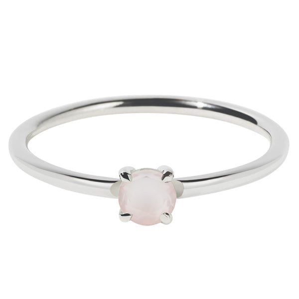 Meadowlark Micro Round Ring - Rose Quartz - Walker & Hall